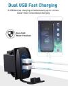 ADSDIA Universal Rocker Style QC3.0 Dual USB Charger,12V/24V 18W Fast Car Charger