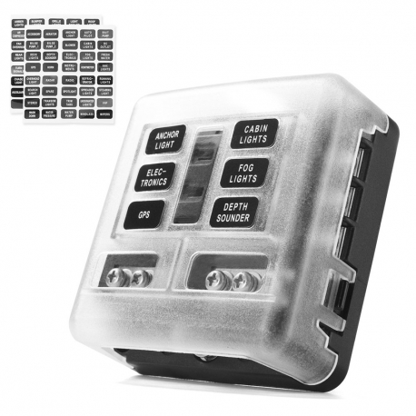Protection Cover 6-Way Blade Fuse Box 100 Amp LED Indicator for Blown Fuse - Fuse Block for Automotive