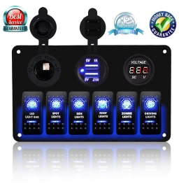 ADSDIA 6 Gang Circuit LED Car Marine Waterproof 5 Pin Boat Rocker Switch Panel for RV Car Boat