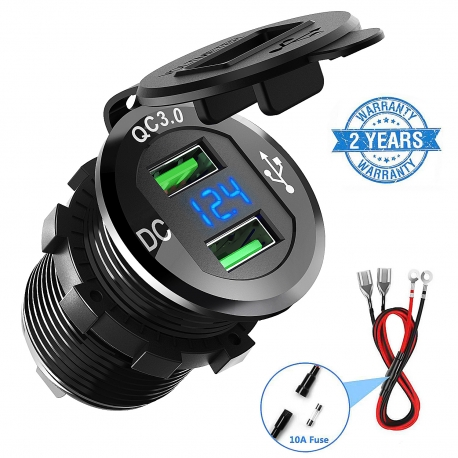 ADSDIA Quick Charge 3.0 Car Charger,12V/24V 36W Aluminum Waterproof Dual USB Fast Charger (Black)