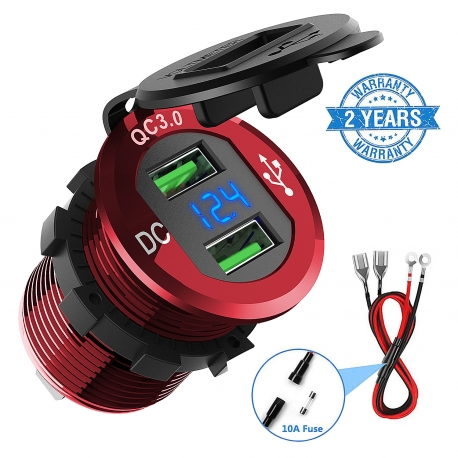 ADSDIA Quick Charge 3.0 Car Charger,12V/24V 36W Aluminum Waterproof Dual USB Fast Charger(red)