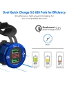 ADSDIA Quick Charge 3.0 Car Charger,12V/24V 36W Aluminum Waterproof Dual USB Fast Charger(blue)